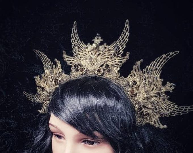 """Halo Headpiece """"Holy Crow"""" Crown, Heilige Krähe Headdress, available in different colors/ MADE TO ORDER"""