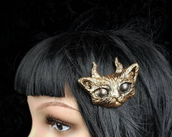 Devil cat hair pin, gothic headpiece, pagan headpiece, devilcat hair clip, different colors available, Made to order