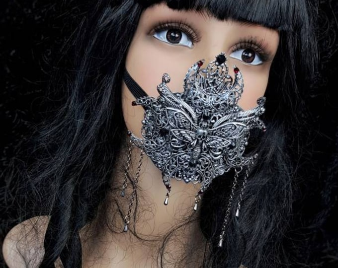 Death moth moon Jaw mask, mouth mask, mouth patch, gothic mask, gothic headpiece, blind mask, baroque mask / Made to order