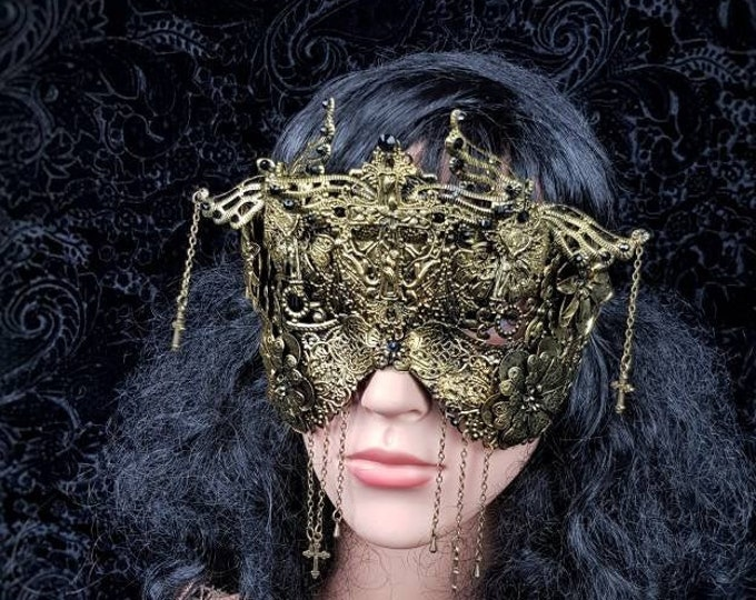 Crucified blind mask, gothic crown, goth headpiece, cosplay, medusa costume, goth crown, fantasy mask, religious crown / MADE TO ORDER