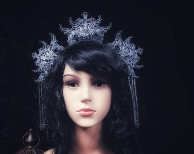 Gothic headpiece, Jeanne d'Arc Crown, goth Headdress, gothic crown available in different colors/ MADE TO ORDER