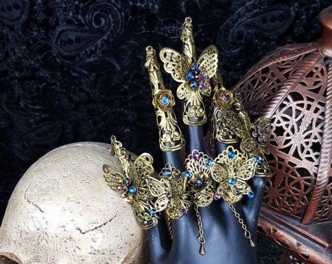 """Set 3 Finger rings + 5 finger  claws """" Fairy Butterfly """", cosplay, gothic headpiece, goth crown, medusa costume, blind mask / Made to order"""