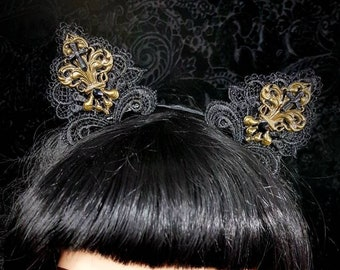 Cat ears Headpiece, Gothic Headpiece, cat ears headband, Ready to ship