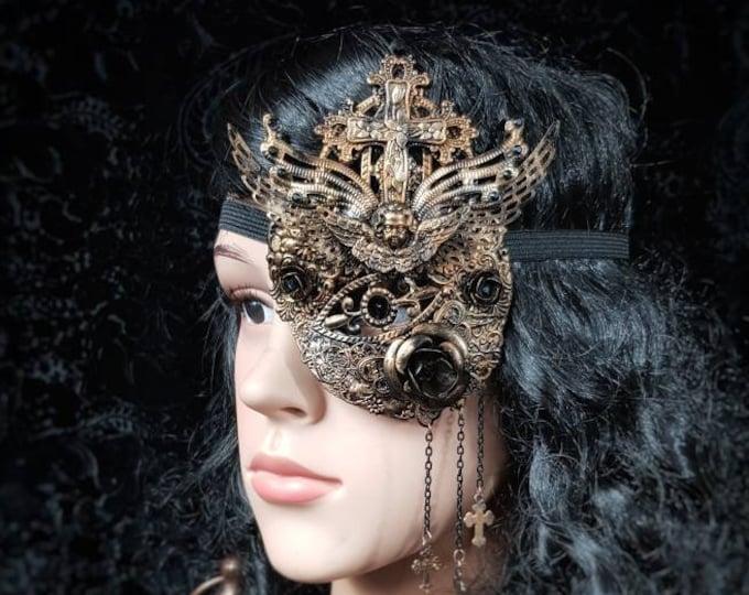 "Tudor, Eye Patch,  ""Princess of Eboli "", blind mask, fantasy, Augenklappe, gothic headpiece, goth crown, Medusa costume / Made to order"