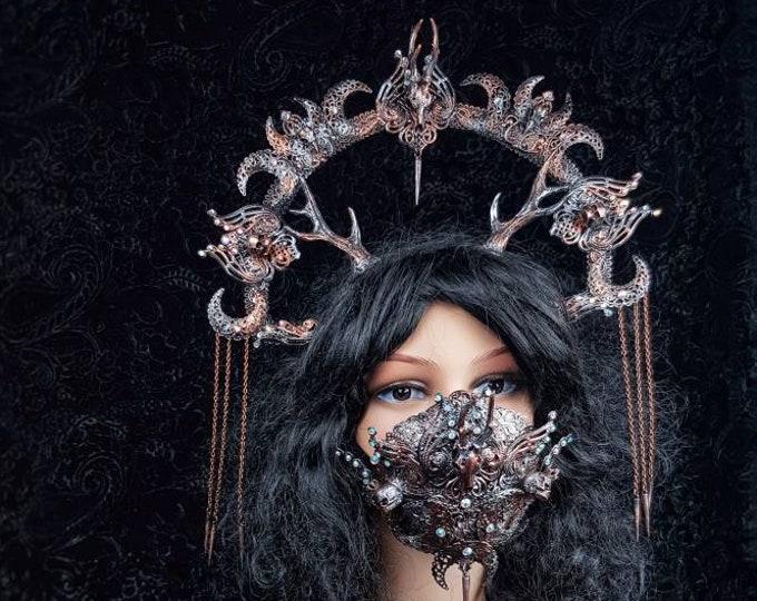 Set Tuahadedana halo with antlers, cernunnos, vikings, goth headpiece, pagan crown, goth crown, medusa, fantasy, blind mask /  MADE TO ORDER