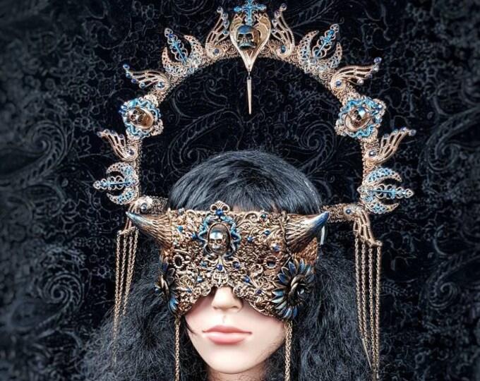 "Featured listing image: Set ""Dragon shieldmaiden "" Halo & devil blind mask, cernunnos, vikings, goth headpiece, pagan, goth crown, medusa, cosplay / MADE TO ORDER"