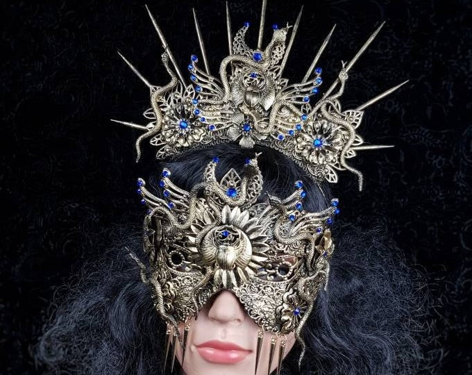 READY TO SHIP Set Anubis crown & blind mask, snake crown, Cleopatra, Medusa Costume, pagan crown, gothic headpiece, cosplay, goth crown