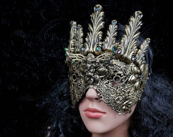 Art nouveau, blind mask, goth crown, baroque mask, gothic headpiece, gothic mask, fantasy mask, available in different colors and styles