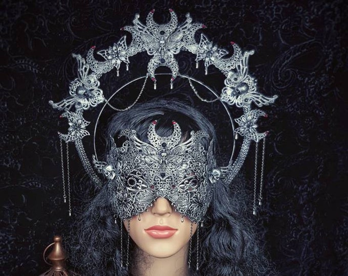 Featured listing image: Set Death Moth Moon Haarreif & blind mask, gothic headpiece, gothic halo, vampire crown, goth crown, different style/ Made to order