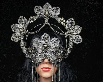Set Raven crown, halo headband & blind mask, gothic headpiece, gothic halo, holy crown, goth crown, different style/ Made to order