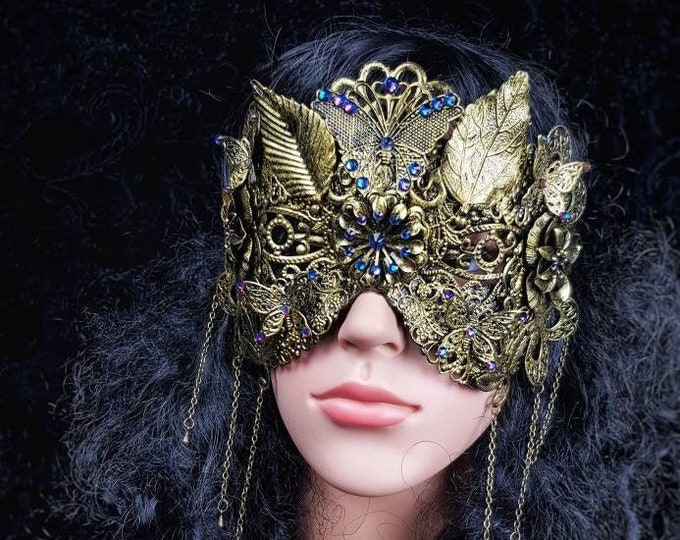 """Blind mask """" Fairy Butterfly"""", cosplay, goth crown, fantasy mask, gothic Headpiece, witch, pagan, gothic crown / Made to order"""