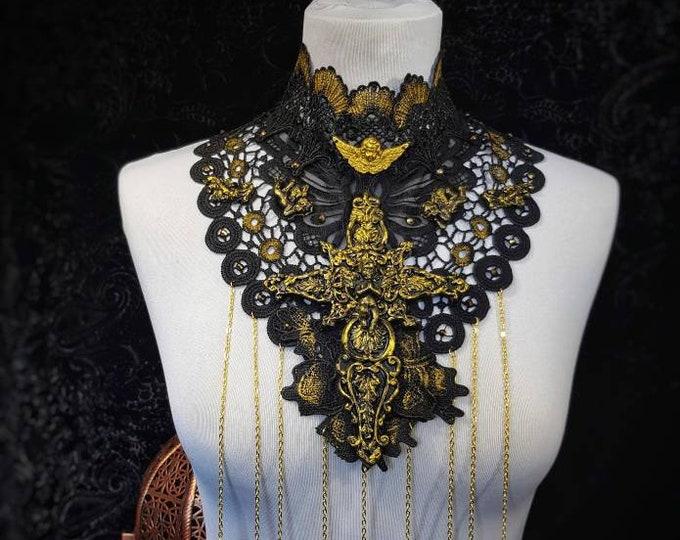"""The  """"Holy Angel """" collar with a big cross and chains, antique look, Spitzenkragen """"Heiliger Engel mit einem Kreuz & Ketten / MADE TO ORDER"""