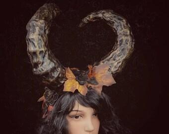 Halloween Special, Krampus Horns headpiece,pagan, unique Headdress,Fantasy, READY TO SHIP