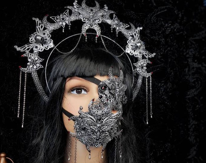 III.Set Death Moth Moon Halo, eyepatch & jaw mask, gothic headpiece, gothic halo, vampire crown, goth crown / Made to order