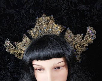 """Gothic crown """"The Wings of Art Nouveau"""" in Antique look, headpiece with Art Nouveau gems, crystals and Baroque Elements/ Ready to ship"""