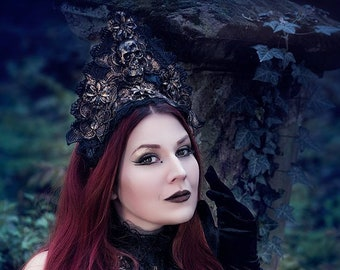 "Kokoshnik ""Flower skull"" in bronze Black gold with metal filigree & resskull in flowers skull Headpiece, Ready to Ship"