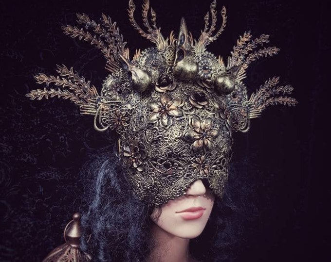 "Blind mask headpiece ""The rise of the phoenix II."", gothic headpiece, goth crown, medusa costume, fantasy costume / Made to order"