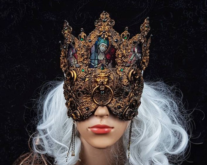 """Blind mask, stained glass, """" King Lionheart """", Cathedral headpiece, gothic headpiece, gothic crown, goth, medusa costume / Made to order"""
