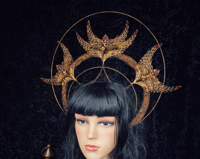"Big Halo ""holy crow"" headband, halo, Gothic Crown, gothic headpiece, goth headpiece, holy crown, goth crown / Made to order"