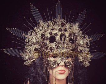 "II.Set  ""Queen of hearts"" Halo headpiece,gothic crown, blind mask, Herzkönigin, gothic headpiece, cathedral headpiece, different colors"