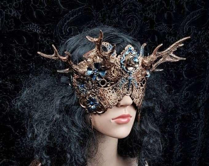 """Blind mask """" Excalibur """", pagan, cosplay, antlers mask, medusa costume, gothic crown, fantasy mask, gothic headpiece / MADE TO ORDER"""