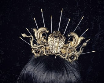 Cobra crown, Medusa, snake crown, Cleopatra, Medusa Costume, pagan, gothic headpiece, in different colors available/Made to Order