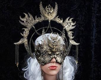 Set Isis Halo & blind mask, medusa costume, ankh, Horus, pharao, cleopatra, gothic headpiece, snakes halo, goth crown / Made to order
