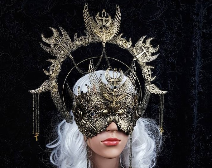 Featured listing image: Set Isis Halo & blind mask, medusa costume, ankh, Horus, pharao, cleopatra, gothic headpiece, snakes halo, goth crown / Made to order