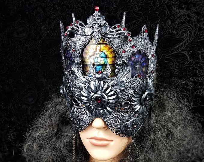 Blind mask, church window mask, stain glass, Cathedral headpiece, gothic headpiece, gothic crown, goth mask, medusa / Made to order