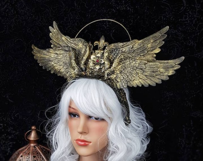 """I. Halo """" Cathedral wings """"  Heiligenschein, Gothic Crown, gothic headpiece, goth headpiece, holy crown, goth crown / Made to order"""