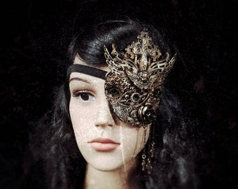 """Tudor Eye Patch """"Princess of Eboli"""", metal eye patch, with cross and angel different colors available, Antique look /MADE TO ORDER"""