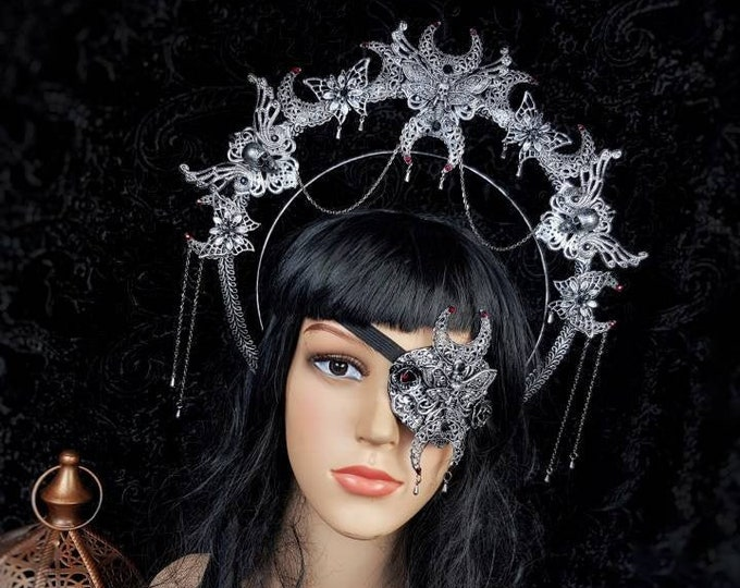 I.Set Death Moth Moon Halo & eyepatch, gothic headpiece, gothic halo, vampire crown, goth crown / Made to order
