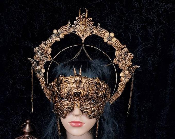 """Pagan Set """"Cernunnos """" halo & mask, medusa costume, gothic headpiece, celtic, deer skull, antilope, goth crown, blind mask/ Made to order"""