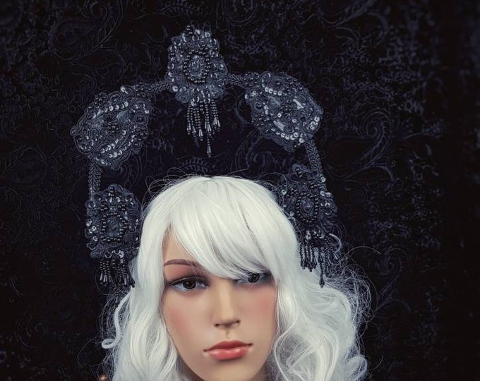 """Halo, Halo """" Venice """" Gothic Crown, gothic headpiece, goth headpiece, holy crown, holy headband, goth crown / Made to order"""