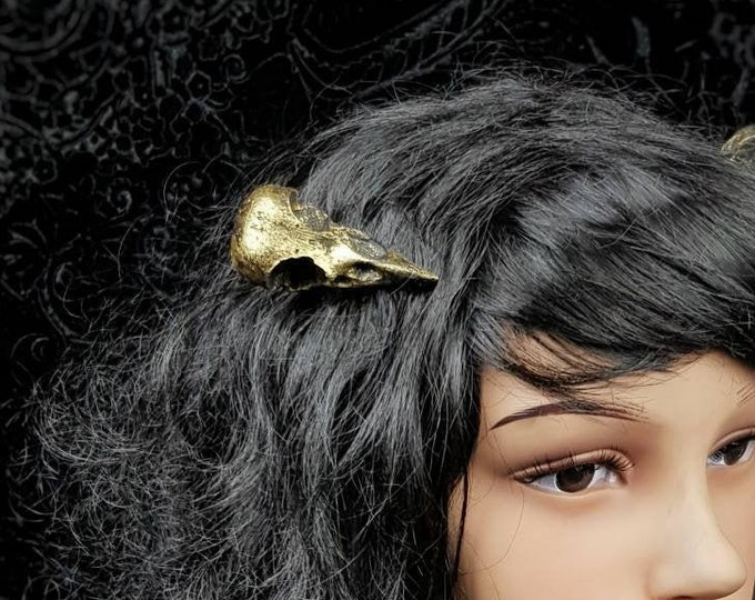 Raven skull hair pin, gothic headpiece, pagan headpiece, bird skull hair clip, crow skull, different colors available, Made to order