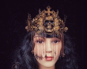 Assassin Crown with skull and chains , Goth crown, Warrior Headpiece, available in different colors and style