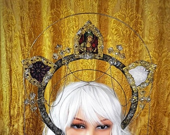 """READY TO SHIP / Stained glass, Halo"""" holy woman """" cathedral headpiece, blind mask, Halo, Gothic Crown, gothic headpiece"""