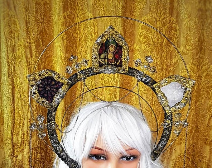 """Stained glass, Halo"""" holy woman """" cathedral headpiece, blind mask, Heiligenschein, Gothic Crown, gothic headpiece, goth crown/ Made to order"""