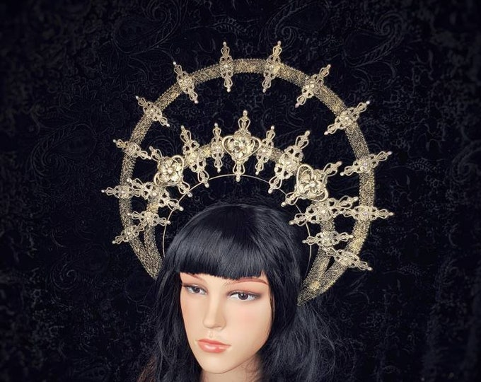 "Big Halo "" Elisabeth "" headband, halo, gothic crown, gothic headpiece, goth headpiece, holy crown, goth crown / Made to order"
