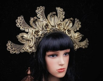 Cleopatra Headpiece, Cleopatra Crown, Snake, Cobra Headpiece, Medusa, available in different colors, Fantasy costume /MADE to Order