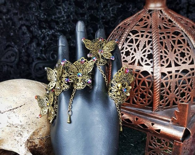 """Finger rings """" Fairy Butterfly """", finger claws, cosplay, gothic headpiece, goth crown, medusa costume, blind mask / Made to order"""