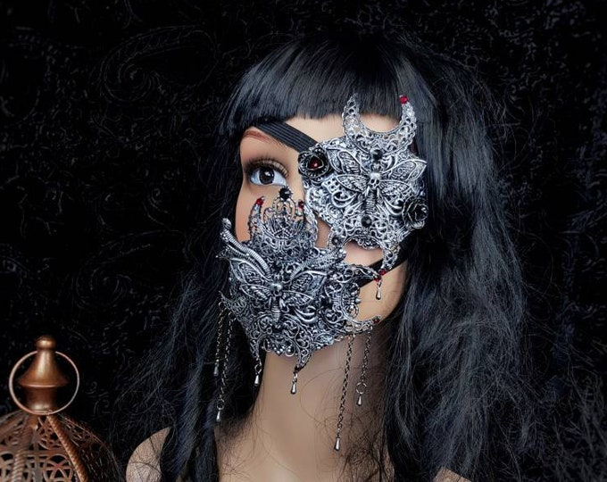 IV.Set Death Moth Moon eyepatch & jaw mask, gothic headpiece, gothic halo, vampire crown, goth crown / Made to order