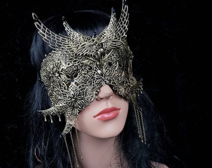 II. Holy crow, blind mask, goth crown, baroque mask, gothic Headpiece, gothic mask, fantasy mask, Made to order