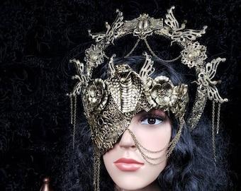 Set Cobra Scarab Halo headband & cobra half mask, gothic headpiece, blind mask, medusa costume, cleopatra crown, goth / Made to order