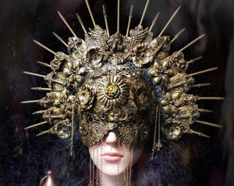 Holy Angel Set, Halo headpiece & metal blindmask, set of headdress + blind mask in antique look, different colours/MADE TO ORDER