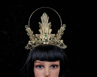 Art Nouveau, Halo, Halo Headpiece, Gothic Crown, gothic headpiece, gothic headdress, holy crown, goth crown / Made to order
