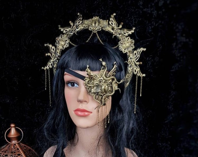 II.Set Scarab Halo & eye patch,totally blind, Augenklappe, medusa costume, cobra mask, gothic headpiece, snakes, goth crown/ Made to order