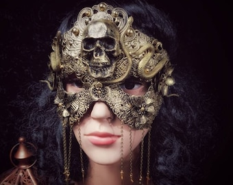"Blind Mask ""Godess of snake"", metal mask with snakes, Medusa mask with snakes, different colors and style available/MADE TO ORDER"