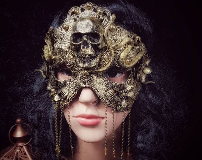 """Classic mask, Blind Mask """"Godess of snake"""", Metall maske mit Schlangen, Medusa costume, gothic headpiece, gothic crown /MADE TO ORDER"""