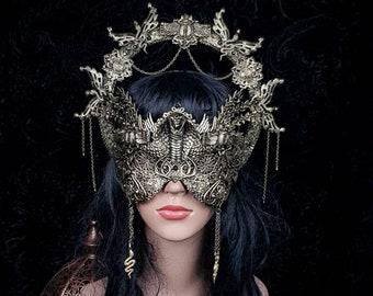 Set Scarab Halo & mask, medusa costume, cobra mask, gothic headpiece, snakes halo, goth crown, blindmask/ Made to order